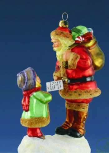 Ёлочная игрушка Девочка с письмом к Санте. Дорогой Санта