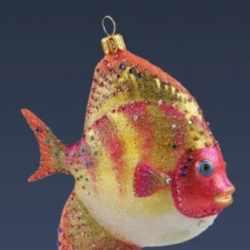 Ёлочная игрушка Рыбка розовая, ювелирная
