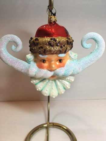 Ёлочная игрушка Голова Санты с усами
