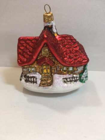 Ёлочная игрушка Домик с елкой
