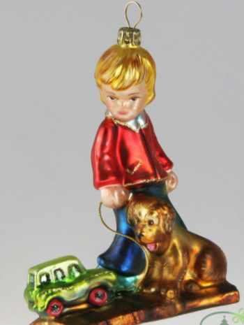 Ёлочная игрушка Мальчик с собакой и игрушкой