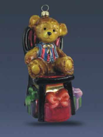 Ёлочная игрушка Мишка на стуле с подарками