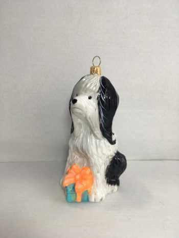 Ёлочная игрушка Болонка с подарком
