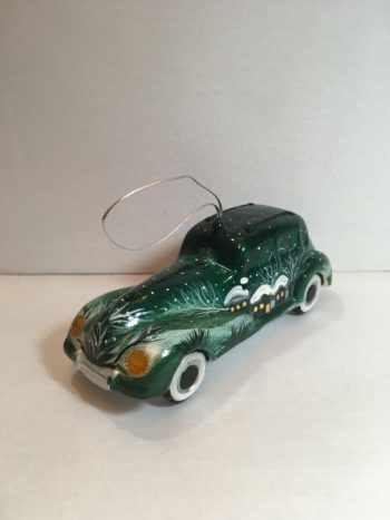 Ёлочная игрушка Автомобиль зеленый с аэрографией